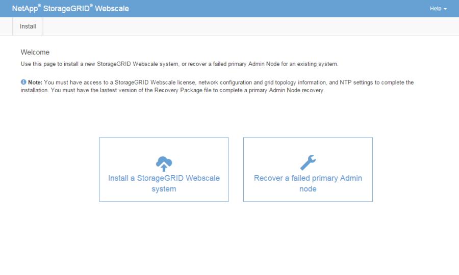 storagegrid install welcome